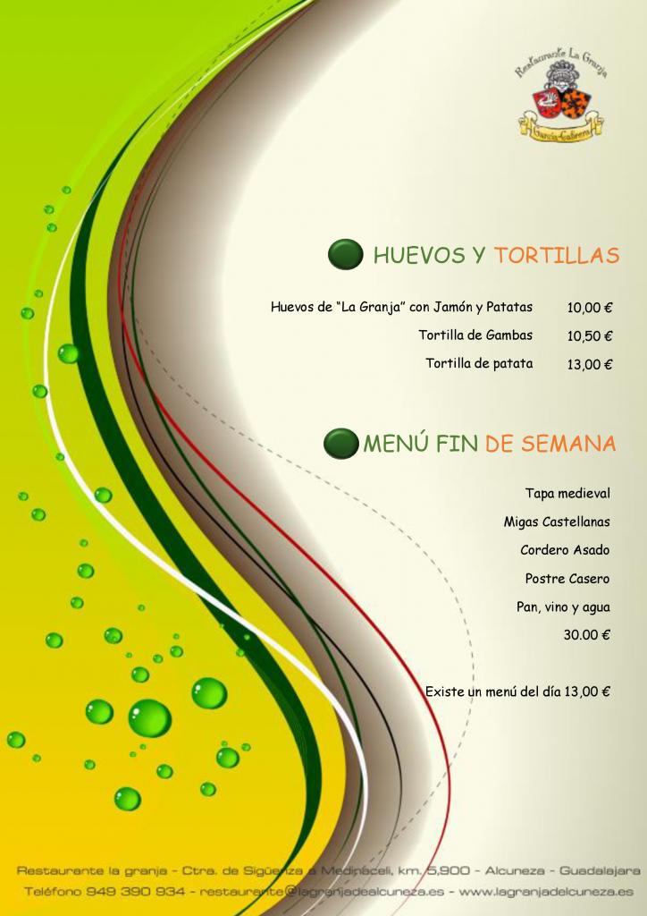 Huevos y Tortillas y Menú Fin de Semana
