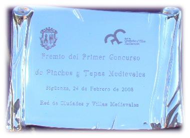 Premio del Primer Concurso de Pinchos y Tapas Medievales